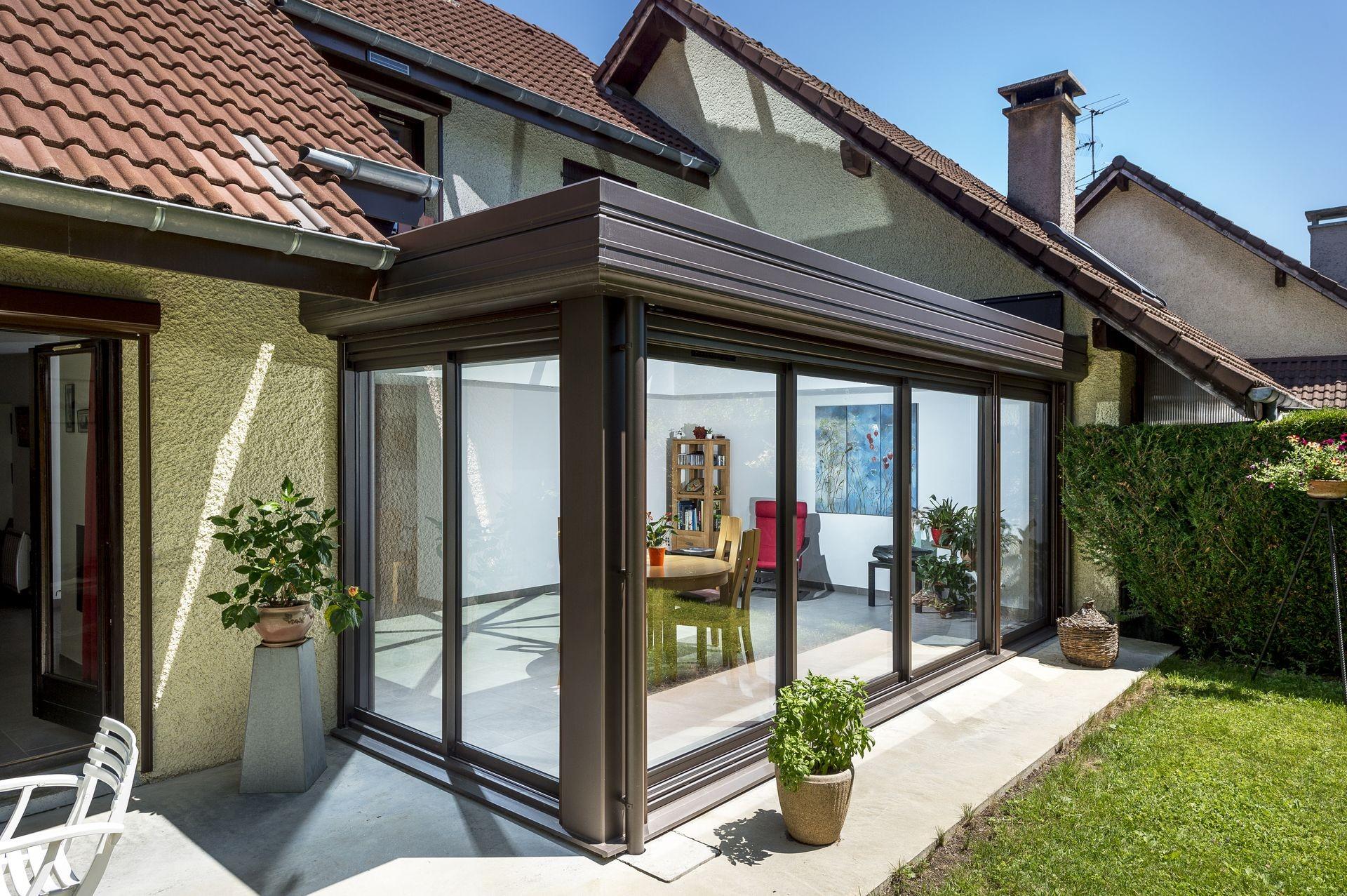 extension à toiture plate - Actuel Veranda