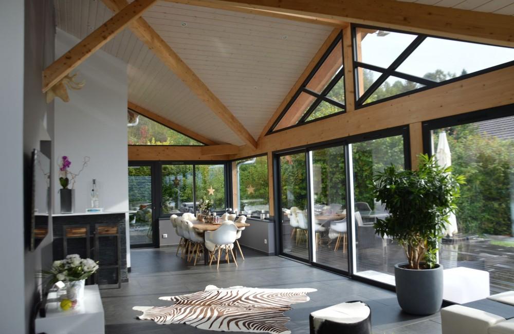 extension de maison en ossature bois et aluminium avec spa intégré en HAUTE-SAVOIE 74 SAINT ...